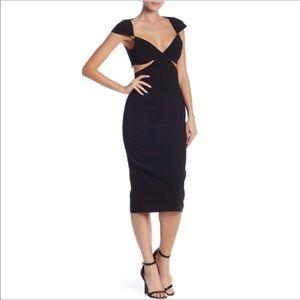 NWT Cinq a Sept Black Greta Coutout Midi Dress 6